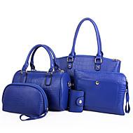 Women PU Weekend Bag Shoulder Bag / Tote / Clutch / Coin Purse - Blue / Red / Black