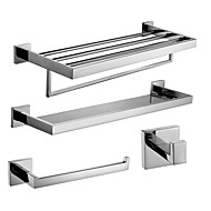 Polish Stainless Steel Bath Accessories Set with Glass Shelf Towel Ring Towel Shelf with Bar and Robe Hook