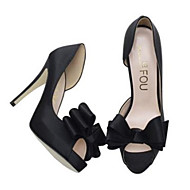 Women's Shoes Silk Stiletto Heel Heels/Peep Toe Pumps/Heels Wedding/Party & Evening Black/White