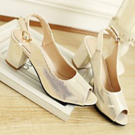 Women's Shoes Faux Leather Chunky Heel Peep Toe/Basic Pump Sandals Office & Career/Dress/Casual Pink/Silver/Gold