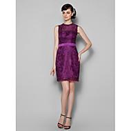 Lanting Knee-length Lace Bridesmaid Dress - Grape Plus Sizes / Petite Sheath/Column Jewel