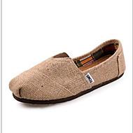 Women's/Men's/Lovers' Shoes Linen Flat Heel Comfort Loafers Office & Career/Casual Brown