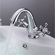 Centerset Two Handles One Hole in Chrome Bathroom Sink Faucet