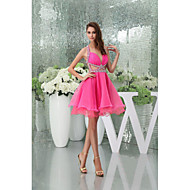Cocktail Party Dress - Candy Pink Petite A-line Halter / Sweetheart Knee-length / Court Train Organza