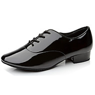 Non Customizable Men's Dance Shoes Salsa Leatherette Chunky Heel Black/White