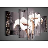 arte de la pared pintada a mano pura pintura al óleo lirios blancos decoración del hogar paisaje negro en la lona 5pcs / set sin marco