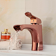 Fashion European Style Rose Gold Waterfall Bathroom Sink Faucet