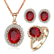 Ékszer készlet Kristály utánzat Diamond Születési kövek Kristály Kocka cirkónia utánzat Diamond Ötvözet Piros Nyakláncok Naušnice Gyűrűk