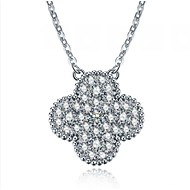 Clover Pendant Fixed Mount SONA Simulate Diamond Female Pendant Sterling Silver Necklace 18inches 18K White Gold Plated