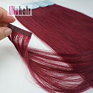 steunkleur 16inch -24inch 20st huid inslag tape-in real remy human hair extensions #burgundy