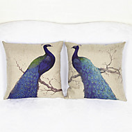 Set of 2 Peacock Throw Pillow Case Pillowcase Sofa Home Decor Cushion Cover (17*17 inch)
