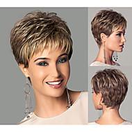 Chic-Stil synthetische Perücken kurze glatte Haare hellbraun Perücken mit Knallen volle natürliche Perücken für Frauen