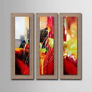 живопись маслом украшения абстрактная ручной росписью естественный белье с растянутыми оформлена - набор из 3
