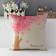 Country Style Cherry Trees Patterned Cotton/Linen Decorative Pillow Cover