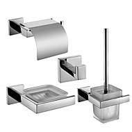 Polish Stainless Steel Bath Hardware Set with Glass Soap Dish Toilet Paper Holder Toilet Brush Holder and Robe Hook