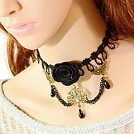 Vintage Black Flower Drip Pearl Necklace