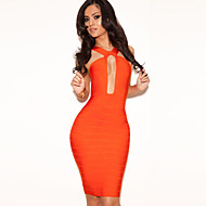 Dress Spaghetti Straps Mini Spandex/Nylon/Rayon Evening Bandage Dresses For Party