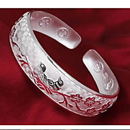 Women's Plum Blossom Magpie Silver Cuff With Bracelet