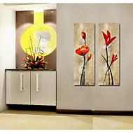 oliemaleri dekoration abstrakte blomster håndmalet lærred med strakt indrammet - sæt med 2