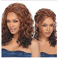 ny rufsig lockar peruk brun och rödbrun mix färg fri frakt