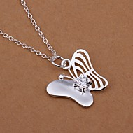 Fashion Butterfly Shape Silver Plated Silver Pendant Necklace(White)(1Pc)