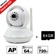 besteye® 64 gigabajtů TF karet a HD720p H.264 P2P ip wifi kamera 1,0 m pixelů PTZ IR noční vidění kabelové nebo wifi wirless kamera