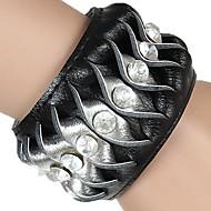 Unisex Chain Fashion Punk Style Cuff Bracelet Faux Leather