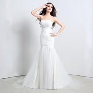 Trumpet / Mermaid Wedding Dress Sweep / Brush Train Strapless Tulle with