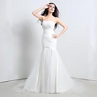 Trumpet/Mermaid Wedding Dress-Sweep/Brush Train Strapless Tulle