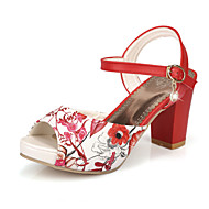 Women's Shoes Chunky Heel Peep Toe Sandals Dress Blue/Red/White