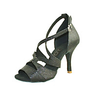 Customizable Women's Dance Shoes Latin/Salsa Leatherette Customized Heel Black/Blue/Red/Silver/Gold