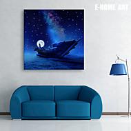E-HOME® Stretched LED Canvas Print Art  The Moon Boat LED Flashing Optical Fiber Print