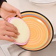 rodada dupla face esponjas pan depuração pad pot dishwash pano (cor aleatória)