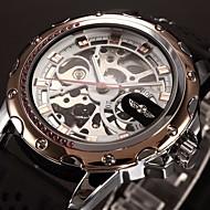 WINNER Heren Polshorloge mechanische horloges Automatisch opwindmechanisme Hol Gegraveerd Silicone Band Luxueus Zwart Gouden Goud Rose