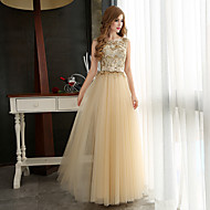 Formal Evening Dress - Gold Plus Sizes A-line Bateau Floor-length Tulle