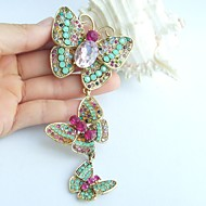 4.53 Inch Gold-tone Multicolor Rhinestone Crystal Butterfly Brooch Pendant Art Decorations