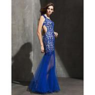 동창회 공식적인 저녁 드레스 - 로얄 블루 맞는& 플레어 연인 바닥 길이 레이스 / 얇은 명주 그물