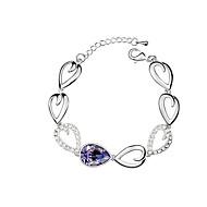 Women's Elegant European Style Sparkling Crystal Tear Water Droplets Bracelet
