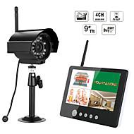 Ennio 7 hüvelykes TFT digitális 2.4G vezeték nélküli kamera audio video monitorok 4 csatornás quad DVR biztonsági rendszer ir éjszakai