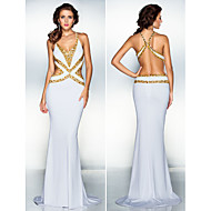 TS Couture Formal Evening Dress - White Plus Sizes / Petite Trumpet/Mermaid V-neck Sweep/Brush Train Jersey
