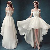 A-line Asymmetrical Wedding Dress - Off-the-shoulder Organza