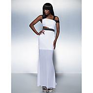 Formal Evening Dress - White Plus Sizes / Petite Sheath/Column Straps Ankle-length Chiffon