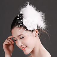 Women's Feather/Crystal/Imitation Pearl/Chiffon/Net Headpiece - Wedding/Special Occasion Fascinators 1 Piece