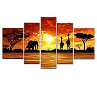 Hand-Painted Modern Abstract Elephant Giraffe Sunset African Landscape Oil Painting on Canvas  5pcs/set No Frame