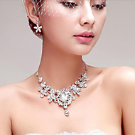 Gorgeous Rhinestone/Titanium Wedding Necklace With Earings
