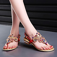 Women's Shoes Leather Low Heel Flip Flops Sandals Wedding/Party & Evening/Casual Black/Blue/Red