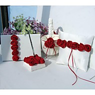 Bold Red Luxury Rose Lined Wedding Satin Collection Set (4 Pieces)