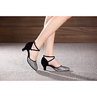 Women's Dance Shoes Belly/Latin/Samba Patent Leather/Velvet/Paillette/Synthetic Cuban Heel Silver/Gold