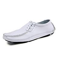 Men's Loafers & Slip-Ons Spring Summer Fall Comfort Light Soles Cowhide Outdoor Office & Career Casual Flat Heel Split JointBlack Brown