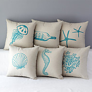 Set of 6 Country Style Sea Animals Patterned Cotton/Linen Decorative Pillow Covers